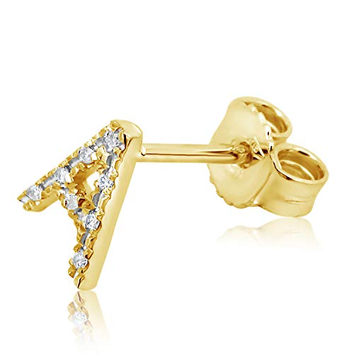 MILLE AMORI ∞ Mono - Un Pendiente de oro y diamante con letra para mujer y hombre ∞ oro amarillo de 9 quilates 375 diamantes 0,04 quilates
