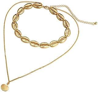 SEMME二層鎖骨ペンダントネックレス、ギフトネックレス合金シェルペンダントネックレスジュエリー用女性、家族、友人同士