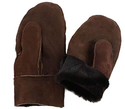 Sonia Originelli Fausthandschuh Schaf Lammfell Fäustlinge Leder Handschuhe Farbe Dunkelbraun, Größe M