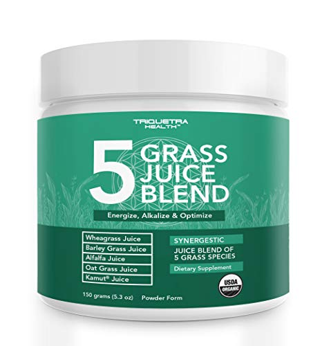 Organic 5 Grass Juice Blend | 20x Potency, Raw, Cold-Pressed |...