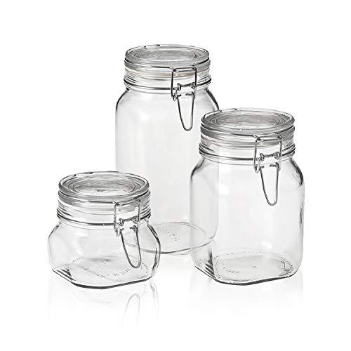Set of 3 Bormioli Rocco Fido Glass Jar