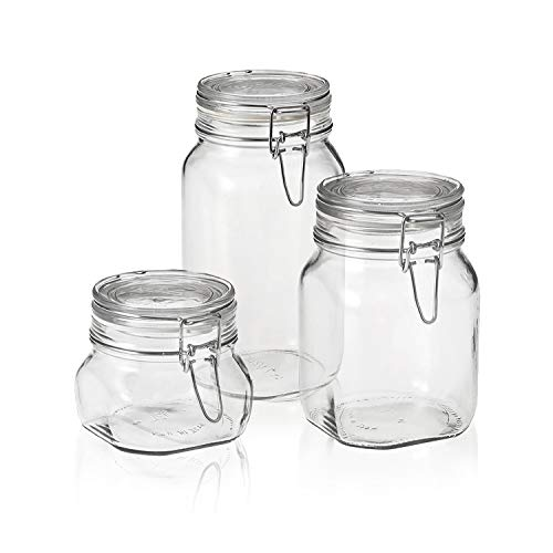 Bormioli Rocco Fido Canning Jar, Set of 3 (17.5 oz,33.75 oz,50.75 oz.)