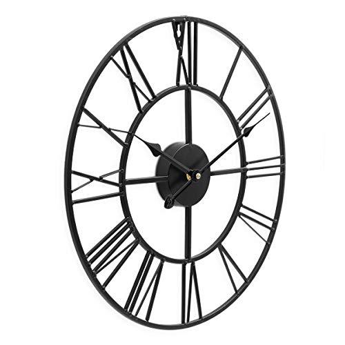 PHOTOLINI Wanduhr Schwarz Antik 40 cm Durchmesser Römische Ziffern ohne Tickgeräusche | Metall-Wanduhr