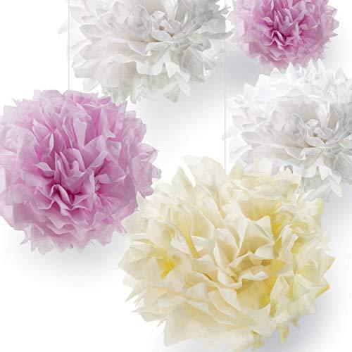 Pumpko Decor 10 Pompones de Papel de Seda - Flores de Papel Decorativos Decoración para Fiestas, Ceremonia de Boda, Cumpleaños, Festividades, Habitacion Infantil