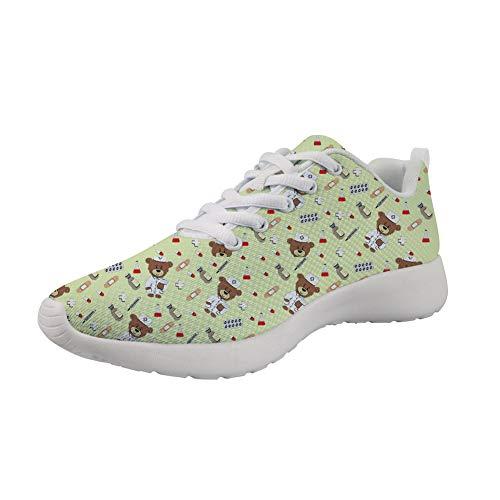 Showudesigns Zapatillas Deportivas de Mujer - Zapatos Sneakers Zapatillas Mujer Running Casual Yoga Calzado Deportivo de Exterior de Mujer 36 EU - Enfermero Oso Modelo Amarillo