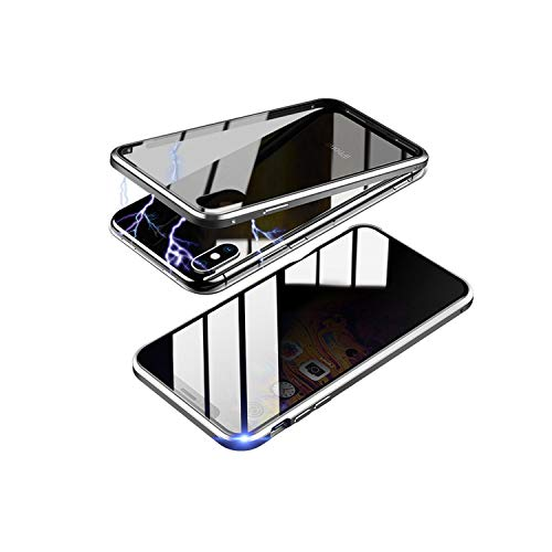 TraCa Magnetic Case for iPhone X/XS, Anti Peeping Magnetic Privacy Adsorption with Clear Double Sided Tempered Glass 360 Full Protective Compatible with Apple iPhone X/XS Silver