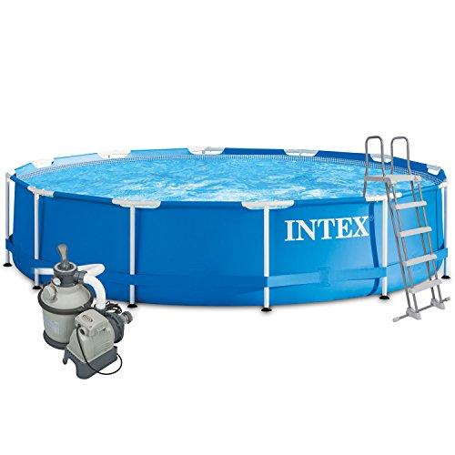 Intex 457x 122Juego completo con Intex filtro de arena 4m³, Intex Seguridad Escalera, Intex anschlus Set, Solar pantalla swimming pool Piscina Frame metal acero pared