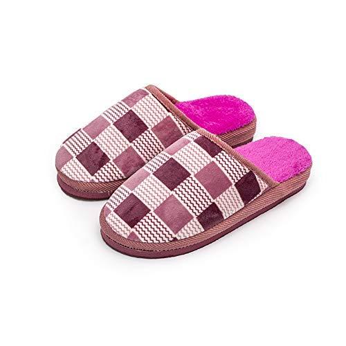 ZHICHUAN Zapatillas casuales para el hogar, zapatillas de algodón de suela gruesa Otoño e invierno Inicio Zapatillas de algodón de felpa suave y cálida Zapatillas de interior y exte