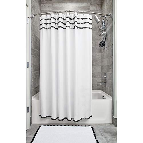 """Pom Pom Fabric Shower Curtain for Master, Guest, Kids', College Dorm Bathroom, 72"""" x 72"""", White and Black"""