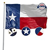 TOAUOT Texas State Flag 3x5 ft Made in USA - Long Lasting Texas Flag Made from Heavy Duty Nylon - Embroidered Stars - Sewn Stripes - Perfect for Outdoors!