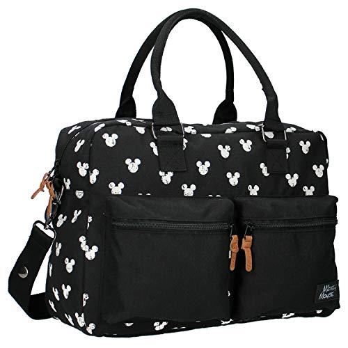 Disney Fashion Sac à Langer avec Mickey Mouse - 16 L - Avec Tapis à Langer - Noir