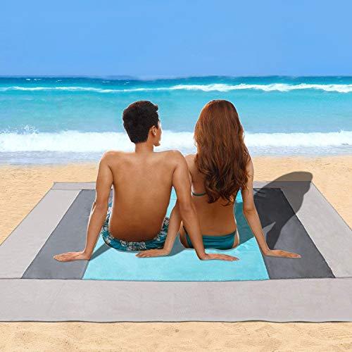 Minetom Telo Mare Antisabbia (220 x 200 cm) Coperta da Spiaggia Sand Free Telo Spiaggia...