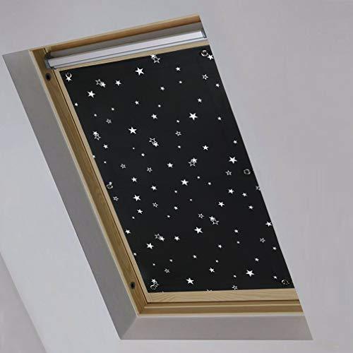 iKINLO Thermo Sonnenschutz Dachfensterrollo für Velux Dachfenster Y45 und 045 ohne Bohren Verdunklungsrollo Rollo UV Schutz mit Saugnäpfe, Schwarz+Sterne 57 x 100 cm