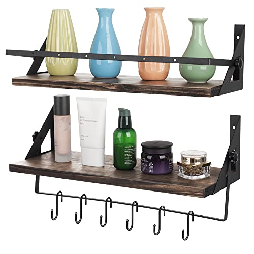 Kitchbai Floating Shelves for Bedroom Wall Mounted Shelves Set of 2 with Towel Rack and 6 Removable Hooks for Organize Cooking Utensils, Kitchen Bar, Bedroom, Living Room (Pine)