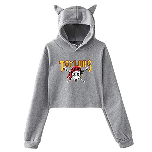 Women's Girls Cute Casual Taylor Gang Taylors Smiley Pirate Face Cat Ear Hoodie Sweatershirts Hooded Gray XX-Large