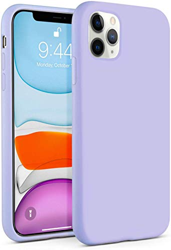 IceSword iPhone 11 Pro Max Case Purple, Thin Liquid Silicone Case, Soft Silk Microfiber Cloth, Matte Pastel Lavender, Gel Rubber Full Body, Cool Protective Shockproof Cover 6.5' - Purple