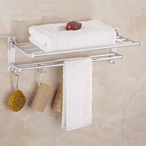 Nannday Bad Handtuchhalter, Haushalt Badezimmer Raum Aluminium Wand Doppelschicht Bad Handtuchhalter Handtuchhalter Regal Regal 40cm