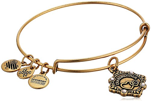 Alex and Ani Womens Because I Love You, Grandmother Charm Bangle Bracelet, Rafaelian Gold, Expandable