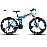 WLKQ Vélo électrique 24 Pouces Repliable pour vélo, Nouveau vélo de Montagne 2019 Pliant Absorption des Chocs Haute résistance et 21 Vitesses,Bleu
