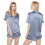 SIORO Women Pajamas Sets Satin Short Sleeve Silk Pajamas for Women, Button Down Sleepwear Soft Pj Sets, Blue Grey, X-Large
