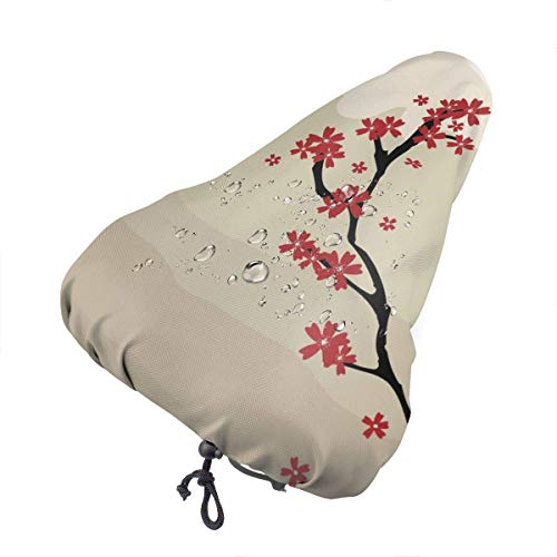 GOSMAO Bicycle Cushion Cover Mountain Bike Art Mount Fu-ji Waterproof Comfort Soft Silicone Bicycle Seat Outdoor Cycling
