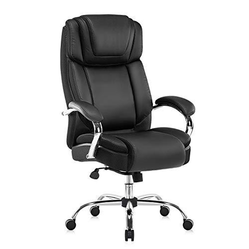 YAMASORO Silla de oficina ergonómica, grande y alta, de piel sintética, silla de escritorio de ordenador, silla ejecutiva con para oficina en casa, color negro