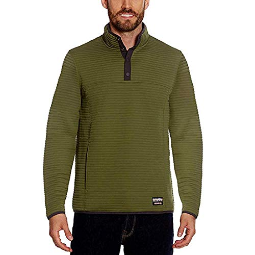 Gerry Men's ¼ Zip Snap Front Pullover (Olive, Large)