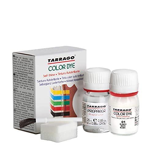 Tarrago   Kit 25 ml di colorante auto-lucido   Tintura autolucidante per scarpe, accessori e primer   Copre sfregamenti e calzature Bianco (01)