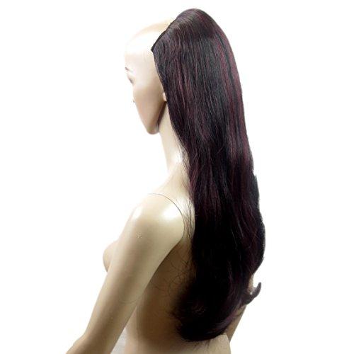 VANESSA GREY One Piece Clip In Hair Extensions Extension a Clip Cheveux Une Pièce Demi Perruque Postiche Extensions De Cheveux Mélange De Noir Et Rouge Style Gothique
