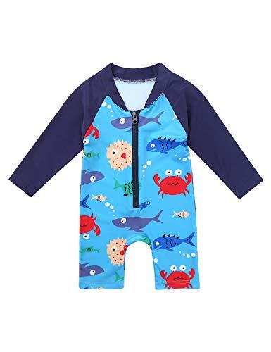Freebily Baby Junge Badeanzug Langarm Schwimmanzug Einteiler Badebekleidung Bade Shirt Badeshorts Rash Guard Bademode Blau 68-80/6-12 Monate