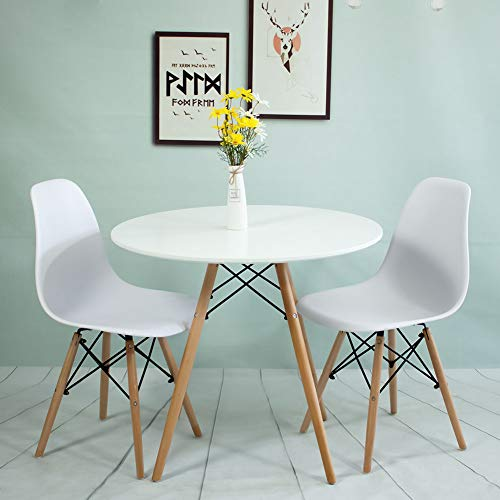 Dining Table and 2 Chairs,White Soild Wooden Round Table 80cm Dining Table Set Kitchen Dining Room Furniture (Round Table 80cm+2 Chairs)