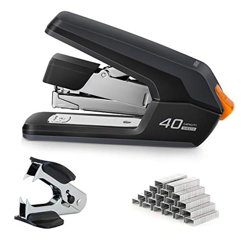 Deli Effortless Desktop Stapler, 40-50 Sheet Capacity, One Finger Touch Stapling, Easy to Load Ergonomic Heavy Duty Stapler, Includes 1500 Staples and Staple Remover