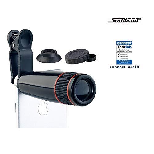 Somikon Handy Teleobjektiv: Smartphone-Vorsatz-Tele-Objektiv mit 12-Fach optischer Vergrößerung (Teleobjektiv Smartphone)
