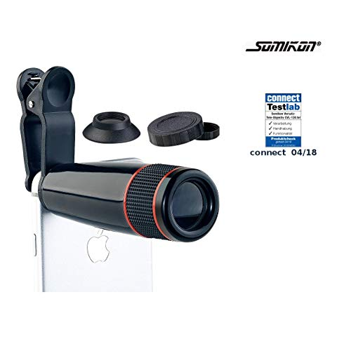 Somikon Handy Teleobjektiv: Smartphone-Vorsatz-Tele-Objektiv mit 12-Fach optischer Vergrößerung (Tele für Handy)