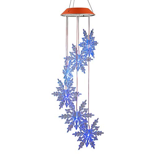 Adarl Christmas Snowflake Solar String Lights Wind Chimes Twinkling with LED Lights,Photosensitive Plate Automatic Control, for Home Decorative Lights