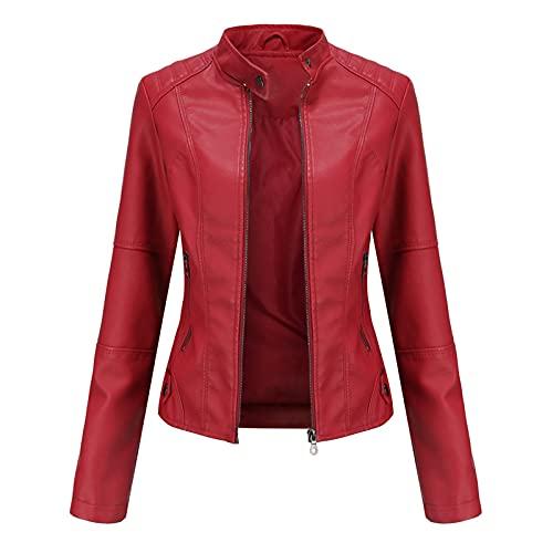 NueiVeiuo Mujer Moda Chaquetas Cuero PU Manga larga Primavera Otoño Tops Cremallera Bolsillos Abrigo Motociclista Slim fit 5 Colors Red-XL