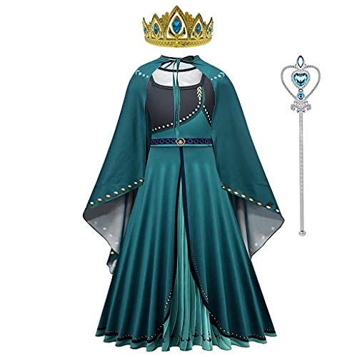 Lito Angels Vestido de Coronación de la Reina Anna para Niña, Disfraz de Princesa Frozen Reino del Hielo 2 con Capa y Accesorios, Talla 5-6 años, Verde