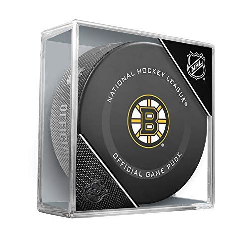 Boston Bruins Official Game Hockey Puck with Holder