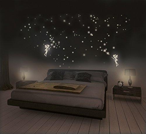 leuc htauf adhesivo hadas con estrellas y bombilla puntos para cielo estrellado, Fluorescente y luminoso en la oscuridad, extrafuertes luminosidad y larga Tiempo, 2hadas + 316estrellas y puntos
