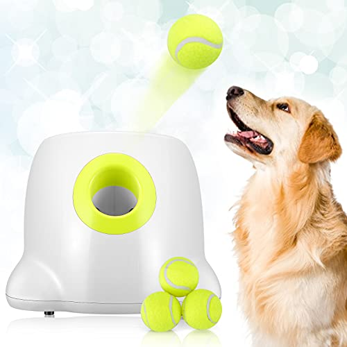 Lanciatore automatico di palline KKTECT per cani 3 impostazione della distanza regolabile Lanciatore di palline da tennis Giocattoli per l'addestramento del cane all'aperto Comprese 3 palline