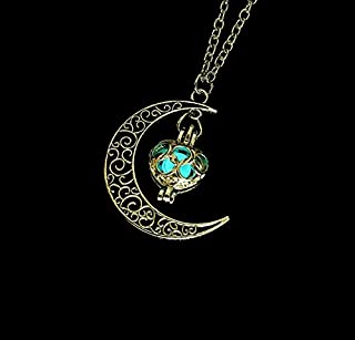 Necklaces Women Moon Glowing Luminous Gem Charm Necklace Jewelry(Green) Necklaces (Color : Light blue)