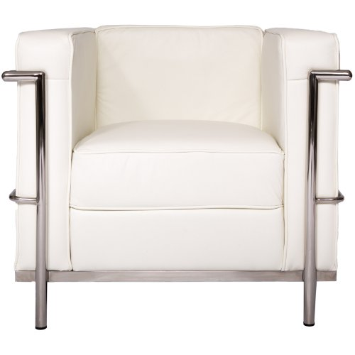 Le Corbusier Style LC2 Klubsessel, Sofa (1 Sitzer), Kissen mit rostfreiem Stahlrahmen, echtes Leder, Weiß