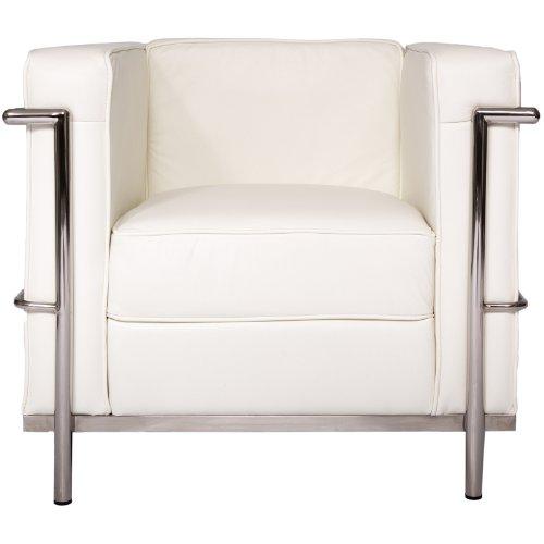 Leisure Mod Le Corbusier Style LC2 Poltrona da salotto Divano Divano (1 posto) Cuscini con struttura in acciaio antiruggine in pelle bianca Geniune