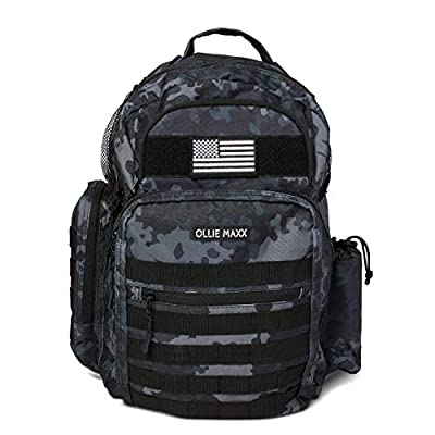 Diaper Bag Backpack for Dad - Baby Backpack - Dad Gear - Baby Accessories for Men - Tactical - Changing Pad, Wipe Dispenser, Stroller Straps, Military Camo with Flag Patch and Insulated Pockets