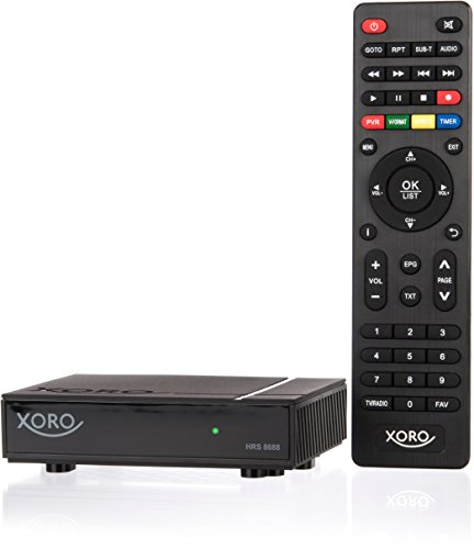 Xoro HRS 8688 digitaler Mini Satelliten-Receiver (HDTV, DVB-S2, HDMI, PVR-Ready, USB 2.0, LAN, VESA 75/100, 12 V, HDMI-Kabel) schwarz