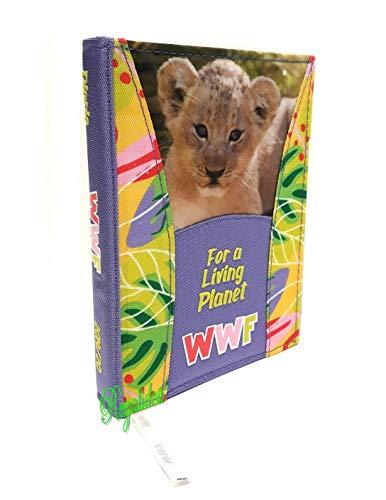DIARIO SCUOLA WWF LEONE copertina in tessuto 2019/2020 + OMAGGIO PENNA GLITTERATA E SEGNALIBRO