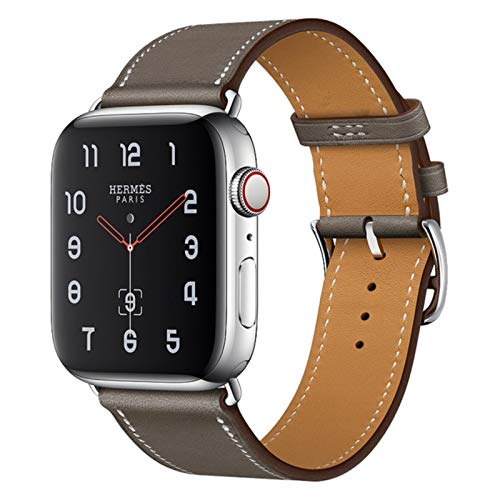 Fashon Newest Leather Loop per Iwatch Series Se 6 5 4 3 2 1 44mm Cinturino per Apple Watch Band 38mm 42mm 40mm ,Grayish brown,40mm