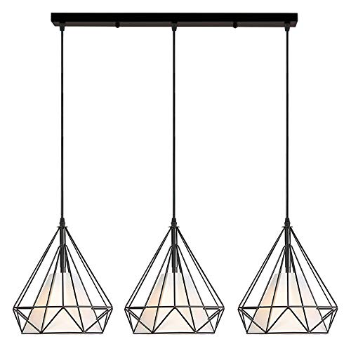 iDEGU Lámpara de Techo 3 Luces, E27 Iluminación Colgante Vintage Industrial Forma de Jaula de Diamante Metal Pantalla Lámpara Colgante, 25CM, 50cm base, Negro
