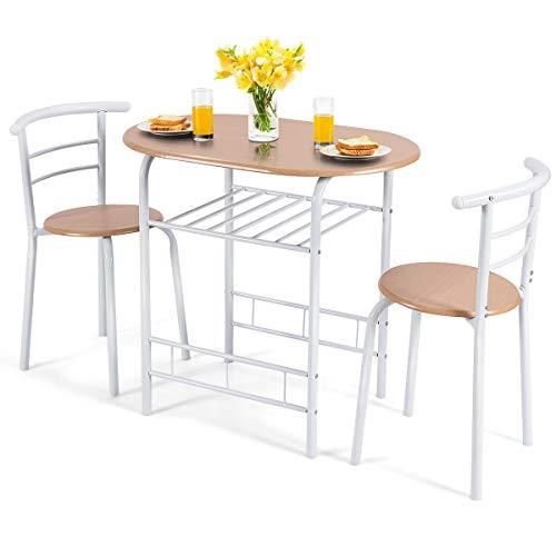 GOPLUS 3-teilige Essgruppe, Sitzgruppe mit 1 Tisch und 2 Stühlen, Esstisch Set, Balkonset aus Holz, Holztisch (Weiß)