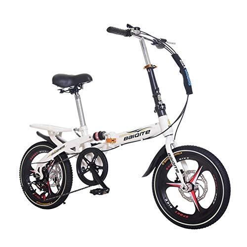 YiWu 20 Zoll Faltrad Damen Kinder Leicht Klein bewegliches Fahrrad Erwachsener Schule-Arbeit faltbares Fahrrad Rower BMX Fahrrad-Frau (Farbe : Weiß)